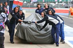 The Sauber C35 of Marcus Ericsson, Sauber F1 Team is recovered back to the pits