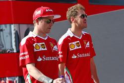 Kimi Raikkonen, Ferrari with team mate Sebastian Vettel, Ferrari