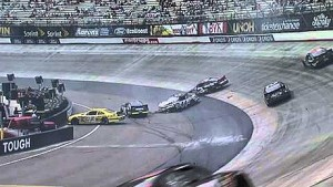 Hard hit on the inside wall for Hal Martin during Bristol Nationwide race