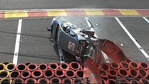 Touring car crashes & flips at Eau Rouge