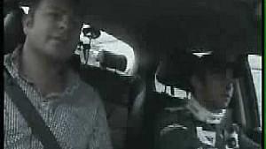 Antonio Pizzonia rolls Jaguar roadcar