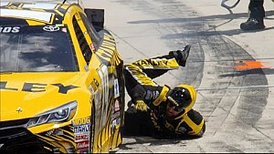 Edwards takes crewman for wild ride on pit road