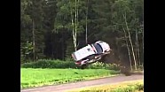 Robert Kubica flips at Rally Finland