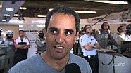 Juan Pablo Montoya talks to WEC reporter in Porsche Garage at Circuit of the Americas