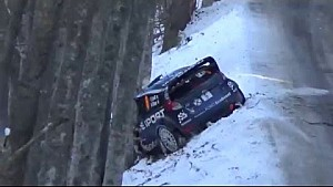 Eric Camilli crashes near Robert Kubica at Rally Monte Carlo