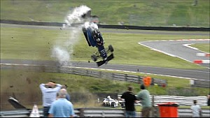 Huge crash BRDC British F3 - Vaidyanathan