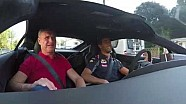 Daniel Ricciardo and David Coulthard head to work in an Aston Martin