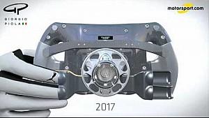 Giorgio Piola技术分析-汉密尔顿所用赛车方向盘变化