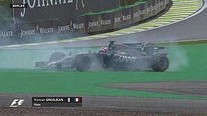 GP du Brésil - La sortie de piste de Romain Grosjean en EL2