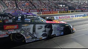Courtney Force takes her Taylor Swift Funny car for a wild ride in Q1 at the #AutoClubFinals