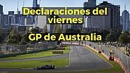 Declaraciones del viernes del GP de Australia de F1 ESP