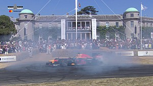 Red Bull RB8 donuts at Goodwood FOS